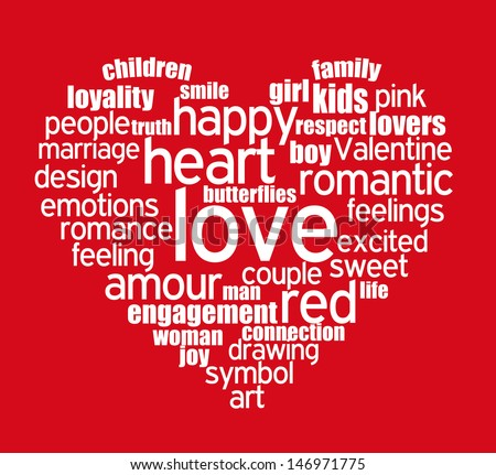Tag Cloud Shaped As Heart Composed Of Words Related To Love White Words On Red