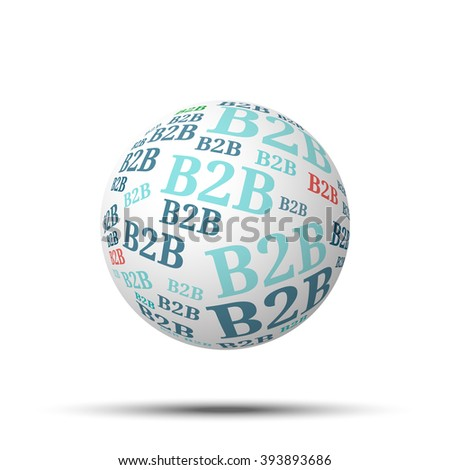 Tag cloud sphere B2B, isolated on white background  - stock photo