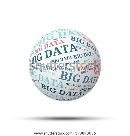 Tag cloud sphere Big Data, isolated on white background