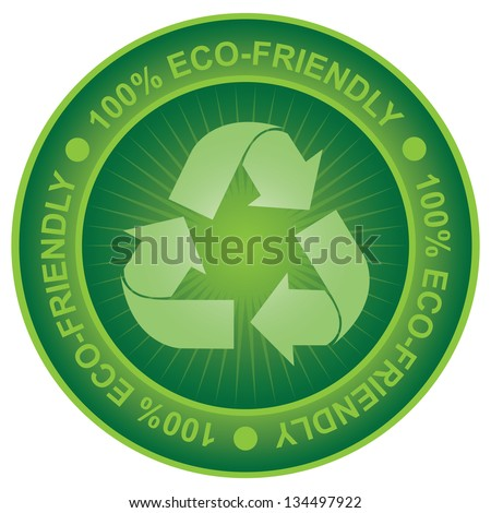 Tag or Badge For Eco-Friendly or Save Energy Sign Present By Green Recycle Sign Icon Isolated on White Background - stock photo