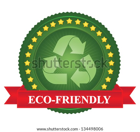 Tag or Badge For Eco-Friendly Sign Present By Green Recycle Sign Icon and Yellow Star Around With Red Eco-Friendly Ribbon Isolated on White Background - stock photo