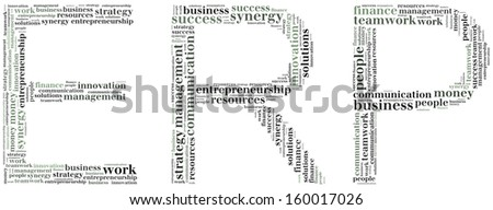 Tag or word cloud Enterprise Resource Planning in shape of ERP - stock photo