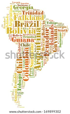 Tag or word cloud South America countries related in shape of continent - stock photo
