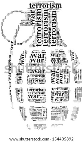 Tag or word cloud war or terrorism related in shape of grenade - stock photo