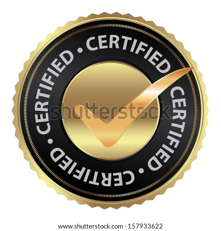 Tag, Sticker, Label or Badge For Product Certification or Product Verification Present By Golden Certified Icon With Check Mark Sign Inside Isolated on White Background