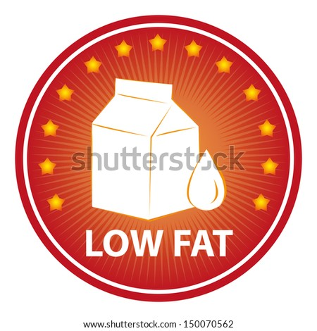Tag, Sticker or Badge For Healthy, Weight Loss, Diet or Fitness Product Present By Red Badge With Low Fat Text, Milk Box Sign and Little Star Around Isolated on White Background