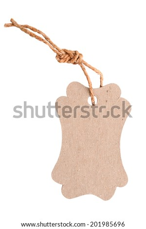tag tied with string.  - stock photo