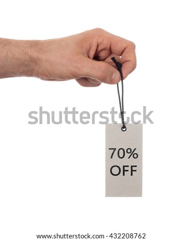 Tag tied with string, price tag - 70 percent off (isolated on white) - stock photo