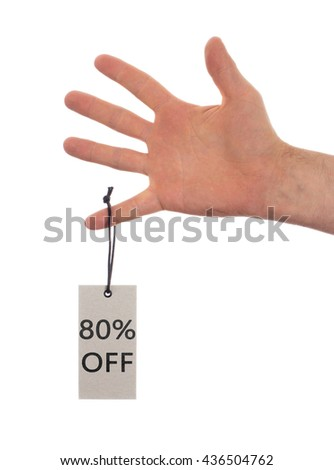 Tag tied with string, price tag - 80 percent off (isolated on white) - stock photo