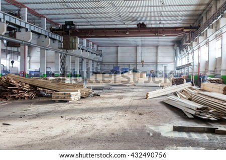 Tagil, Russia- February 13, 2015: Warehouse sawn wood processing enterprises - stock photo