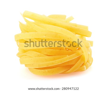 Tagliatelle italian pasta isolated on white background - stock photo