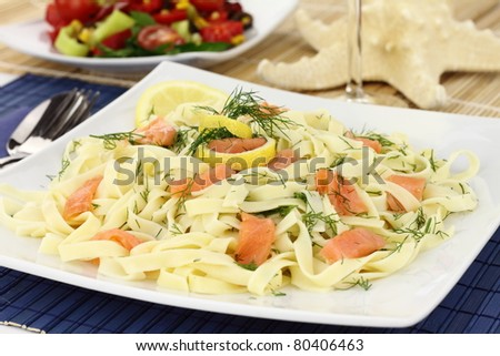 Tagliatelle pasta with salmon, anise and lemon