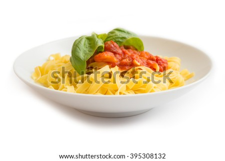 Tagliatelle with meat and tomato sauce, Italian pasta - stock photo