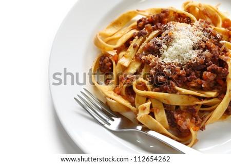 tagliatelle with ragu bolognese sauce, italian pasta cuisine - stock photo