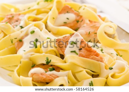 Tagliatelle with Salmon - stock photo