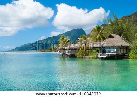 Tahiti Bungalow! - stock photo