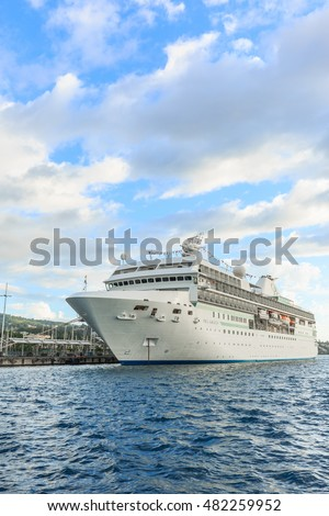 TAHITI, FRENCH POLYNESIA - SEPTEMBER 12, 2016 : Cruise ship is docked at a Large seaport in Tahiti PAPEETE, FRENCH POLYNESIA on September 12, 2016