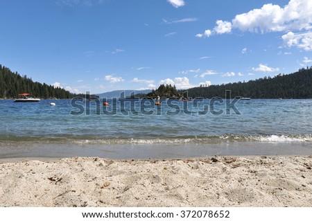 Tahoe Lake view from the sand beach, California - stock photo