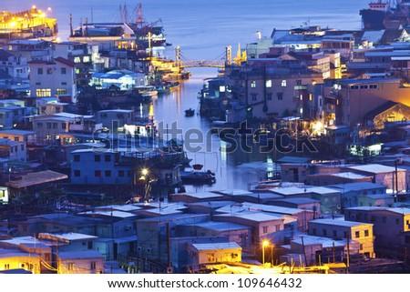 Tai O fishing village at night in Hong Kong - stock photo