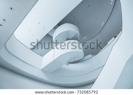 Taichung, Taiwan - August 10, 2017 : the spiral staircase at National Taichung Theater.