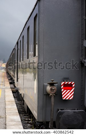 Tail light of an old steam train - stock photo