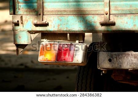 Tail light of truck - stock photo