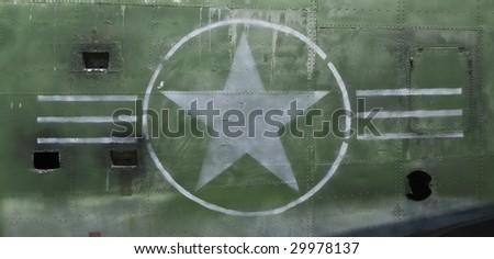 Tail of World War II Airplane - landscape - stock photo