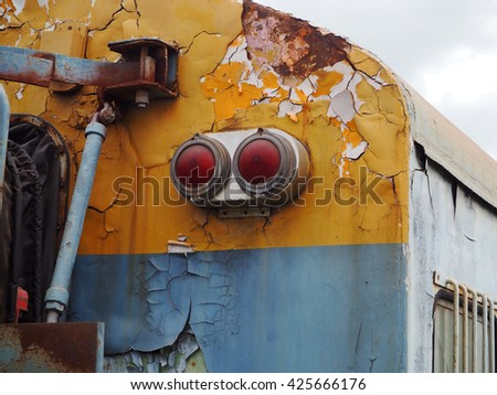 Taillight on passenger trains and industry container railroads running on railways track  - stock photo