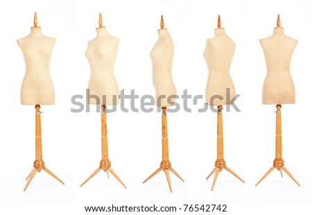 tailor mannequins isolated on white - stock photo