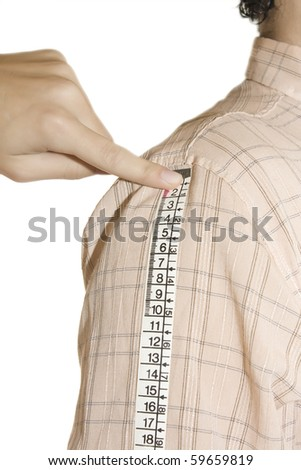 tailor measuring Long sleeves  over white background - stock photo