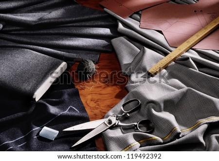 tailoring workshop - stock photo