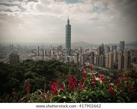 Taipei building city view from the beautiful green mountain.
