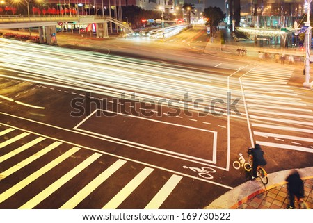 Taipei busy city street at night, Taiwan. - stock photo