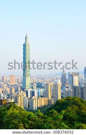 Taipei city skyline with famous skyscraper 101 building, Taiwan.  - stock photo