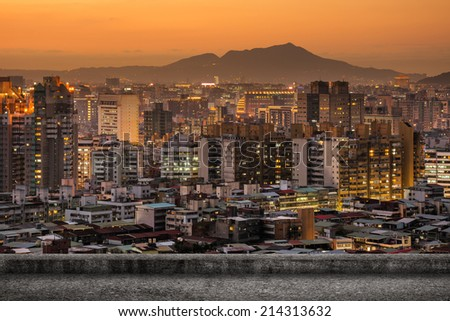 Taipei city sunset scenery with concrete ground and nobody. - stock photo