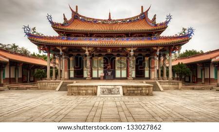 Taipei Confucius Temple in Taipei, Taiwan dates from 1879. - stock photo