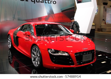 TAIPEI - DEC 8: Audi R8 sports car shown at Taipei International Auto Show December 8, 2009 in Taipei, Taiwan. - stock photo