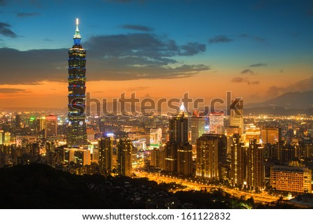 Taipei's City Skyline at sunset with the famous Taipei 101  - stock photo