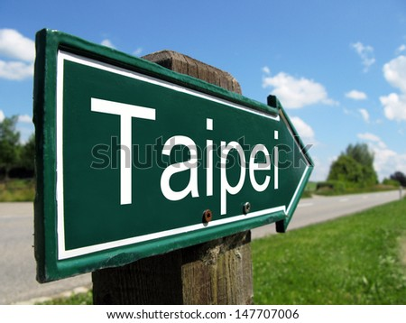 Taipei signpost along a rural road - stock photo