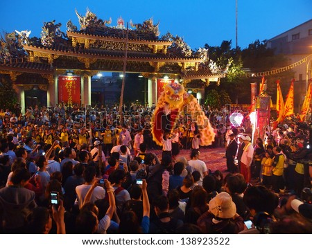 TAIPEI, TAIWAN-APRIL 23: Baosheng cultural festival is hosted on April 23, 2013 in Taipei,Taiwan. This festival is celebrated for the birthday of the Baosheng Emperor (Chinese Medicine God .) - stock photo