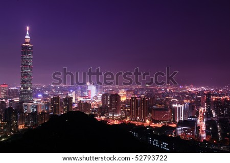 Taipei, Taiwan charming night - stock photo