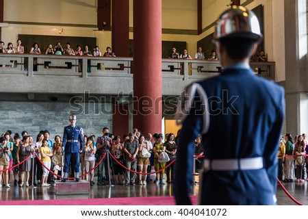 Taipei, Taiwan, 15 Jun 2013: Changing guards ceremony at Chiang Kai Shek Memorial Hall.