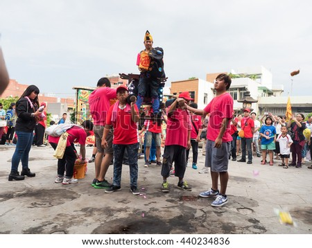 TAIPEI,TAIWAN - June 10 : The folk-custom acrobatics in the temple fair of township on June 10,2016 in Tamsui,Taipei,Taiwan. The fair held annually on chinese lunar date of sixth in May.