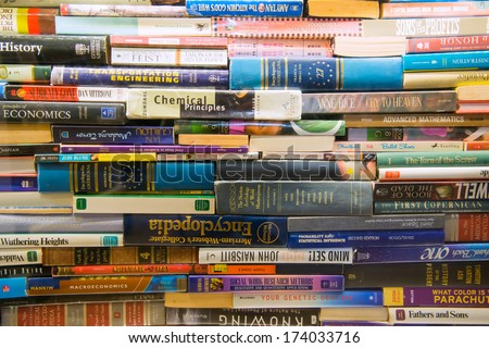 TAIPEI, TAIWAN - NOV 26: Bookshelves in Book Store on November 26, 2013 in Taipei, Taiwan. stack book on Bookshelves in Book Store. - stock photo
