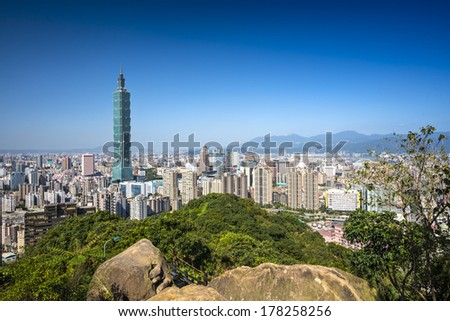 Taipei, Taiwan skyline at daytime. - stock photo