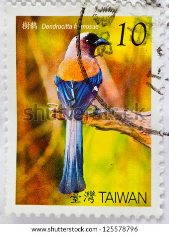 TAIWAN -CIRCA 1980: A stamp printed in Taiwan shows bird, Dendrocitta fomosae .  collection of Taiwan for keep and study, circa 1980