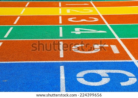 Taiwan colored plastic stadium runway in a primary school - stock photo