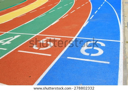 Taiwan colored plastic stadium runway in a primary school