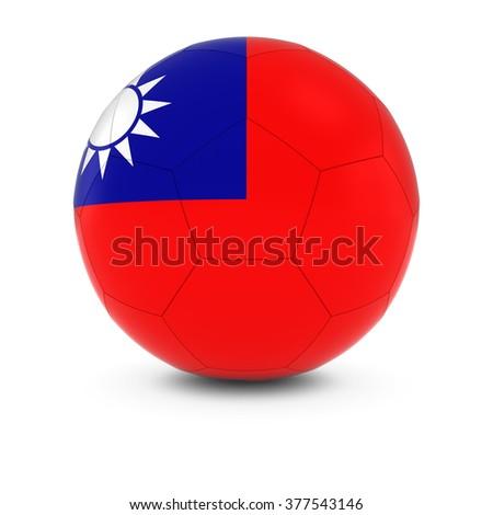 Taiwan Football - Taiwanese Flag on Soccer Ball - stock photo