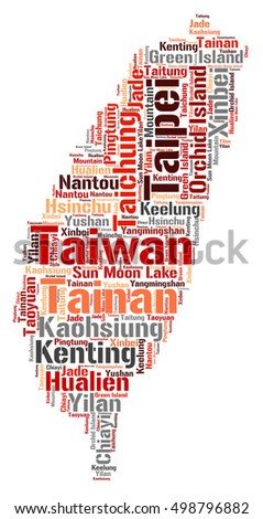 Taiwan map silhouette word cloud with most popular travel destinations